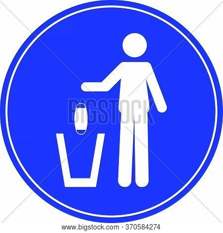 Sign Of A Person Throwing A Face Mask In A Trash Can. Coronavirus, Covid-19 Virus Waste. Flat Vector
