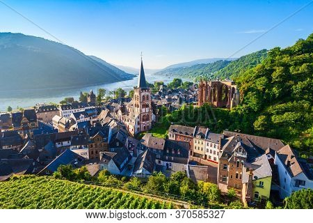Bacharach Aerial Panoramic View. Bacharach Is A Small Town In Rhine Valley In Rhineland-palatinate,