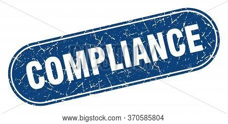 Compliance Sign. Compliance Grunge Blue Stamp. Label