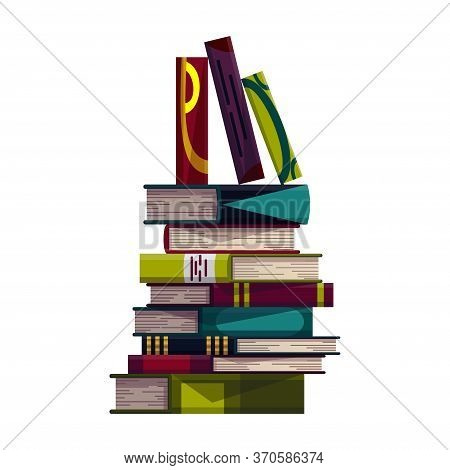 Stack Of Colorful Books On A White Background. Pile Of Education Books Vector. Illustration In Flat