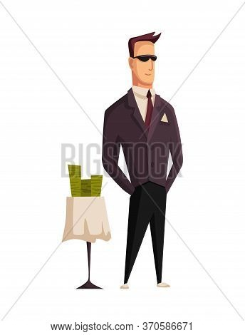 Vector Cartoon Rich People. Image Of A Styled Man Capitalist In A Black Suit And Black Glasses At Th