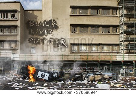 Black Lives Matter Protest Riot Vandalism, Looting Aftermath Concept, Flaming Police Car Smashed, Ov