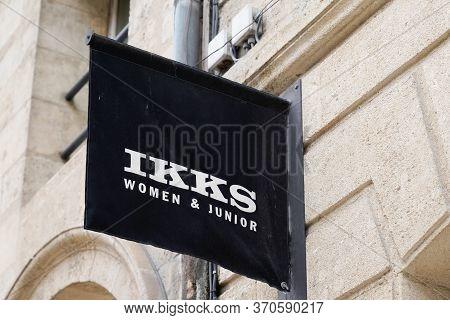 Bordeaux , Aquitaine / France - 05 12 2020 : Ikks Shop Logo Fashion Store Sign Clothing Women And Ju
