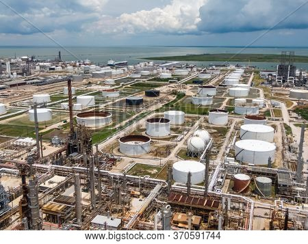 May 30, 2020 - Texas City, Texas, USA: Aerial views of an oil refinery on the Texas Gulf Coast