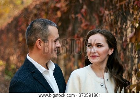 Couple In Love Close-up Portrait. Concept Of Happy Family. Modern Family Outdoor.