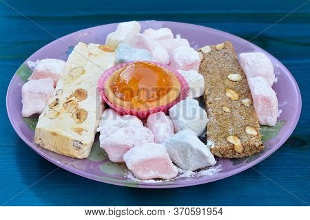 Greek Sweet Staff From Lefkada, Candied Fruit, Halva, Turkish Delight Served In Glass Plate On Turqu