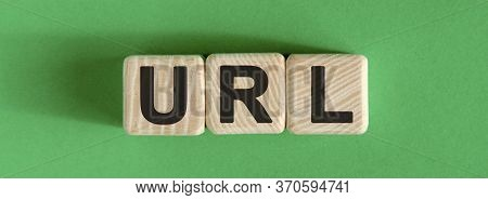 Url Website - Text On Wooden Cubes With Green Background