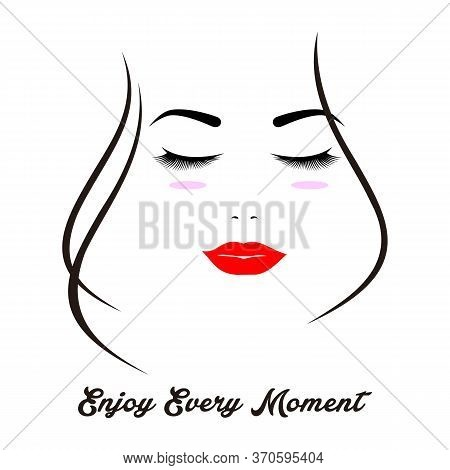Beautiful Smiling Woman Face With Closed Eyes And Red Lips, Isolated On The White Background, Vertic