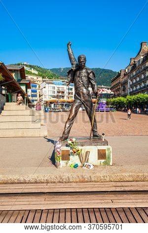 Montreaux, Switzerland - July 19, 2019: Freddie Mercury Statue On Lake Geneva In Montreux Town In Sw