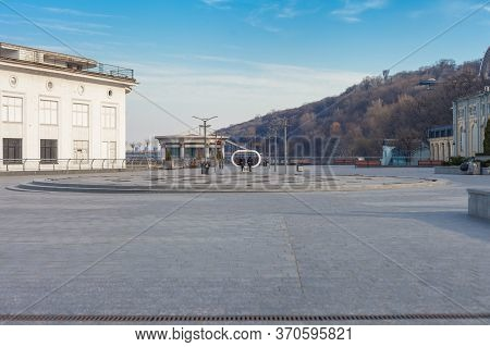 Kiev, Ukraine - March 26, 2020: Reconstructed Embankment On Postal Square In The Center Of Kiev, In