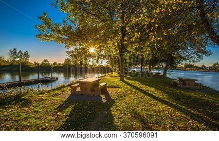 Early Fall Evening, Sunset, Picnic Area In Macdonald Beach Park On The Banks Of  Fraser River. Picni