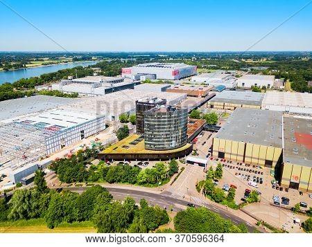 Dusseldorf, Germany - July 02, 2018: Dusseldorf Messe Trade Fair Ground And Esprit Arena Stadium In