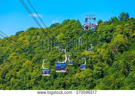 Koblenz, Germany - June 27, 2018: Cable Car To Ehrenbreitstein Fortress In The Centre Of Koblenz Tow