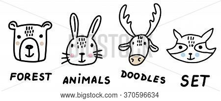 Forest Animals Doodle Set. Hand Drawn Lines Cartoon Animal Collection. Bear, Bunny, Deer, Raccoon. V
