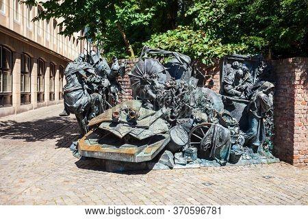 Dusseldorf, Germany - July 01, 2018: Stadterhebungsmonument City Survey Monument Is A Monument Comme