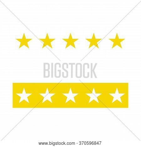Five Stars Rating Icon. Five Golden Star Rating Illustration Vector. Premium Quality Customer Servic