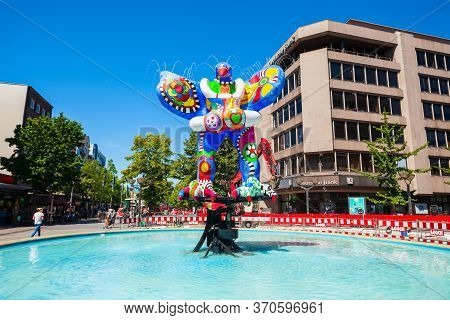Duisburg, Germany - July 03, 2018: Lifesaver Or Life Saver Sculpure In The Old Town Of Duisburg City