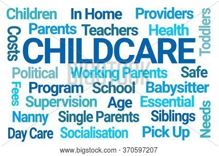Childcare Word Cloud on White Background