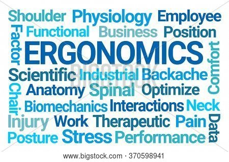 Ergonomics Word Cloud on White Background