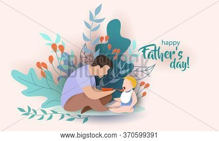 Young Man Father Feeding Baby With Spoon