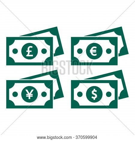Icons Of Banknotes With Images Of Currencies Of Different Countries: A Banknote With A Dollar, Euro,