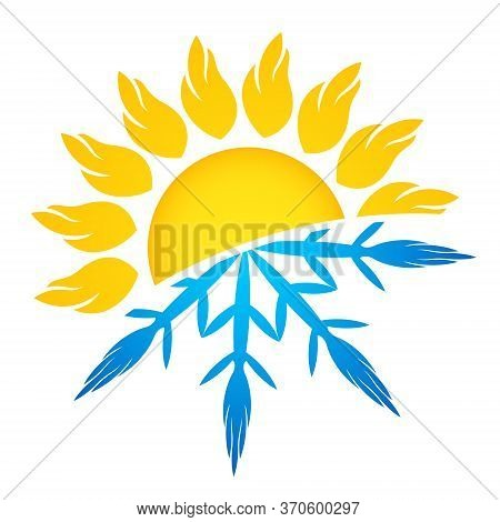 Sun And Snowflake Symbol Air Conditioning Ventilation And Heating Symbol