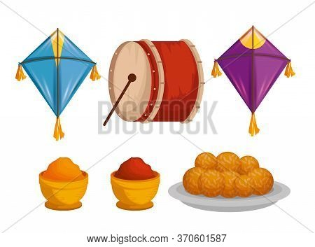 Set Kites With Drum And Food To Makar Sankranti Vector Illustration