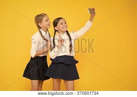 Seflie. Small Girls In School Uniform. Back To School. Educational Blog. Digital Technology. Online