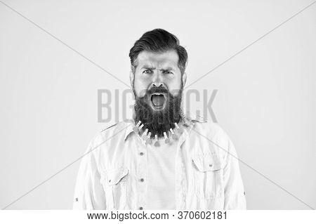 Facial Care. Love Care My Beard Hair. Laundry. Hair Drying. Barbershop. Man Clothespin On Beard. Bru