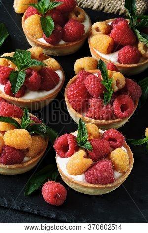 Desserts With Raspberries. Tart With Greek Yogurt And Yellow And Red Raspberries. Keto Diet. Keto De