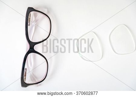 Dioptric Glasses And Replacement Optics. Copy Space