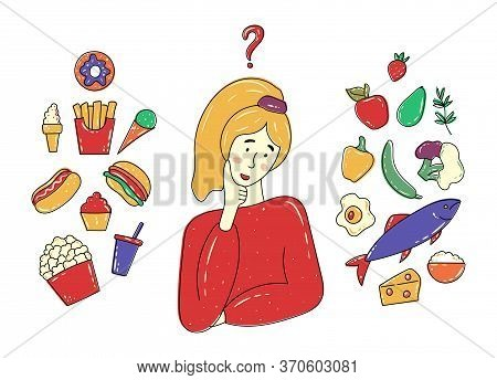 Woman Choosing Between Healthy And Junk / Unhealthy Food Concept. Fish, Cheese, Fruits, Vegetables V