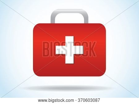 Red Medical Box Icon Vector Illustration. First Aid Or Medical Kit Icon. First Aid Kit On Blue Backg