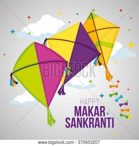 Makar Sankranti Celebration With Kites Design Vector Illustration