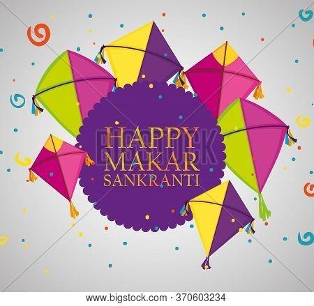 Makar Sankranti Ceremony Emblem With Kites Vector Illustration
