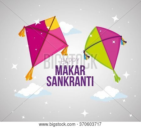 Makar Sankranti Decoration With Kites To Ceremony Vector Illustration