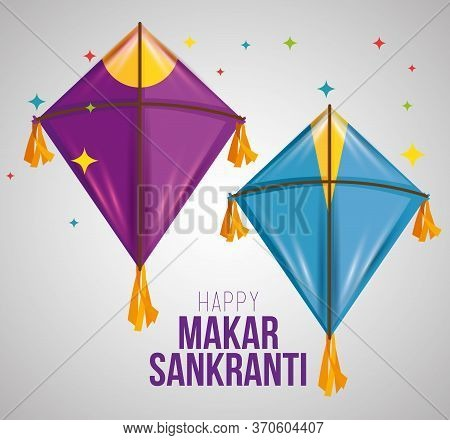 Makar Sankranti Ceremony With Creative Kites Vector Illustration