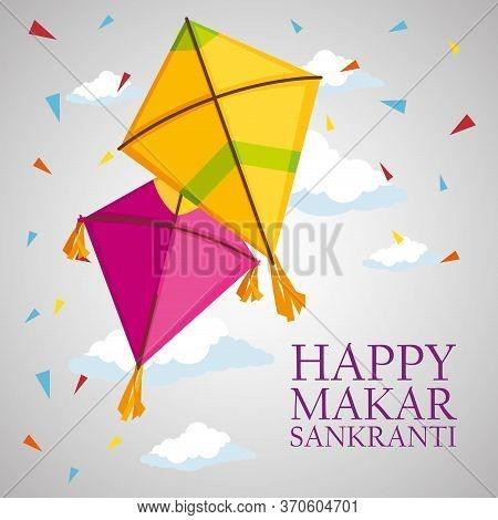 Happy Makar Sankranti With Kites To Celebration Ceremony Vector Illustration