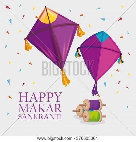 Makar Sankranti Religion Celebration With Kites Vector Illustration