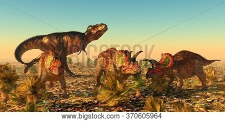 Triceratops Dinosaurs In Danger 3d Illustration - A Group Of Male Triceratops Dinosaurs Become Alarm