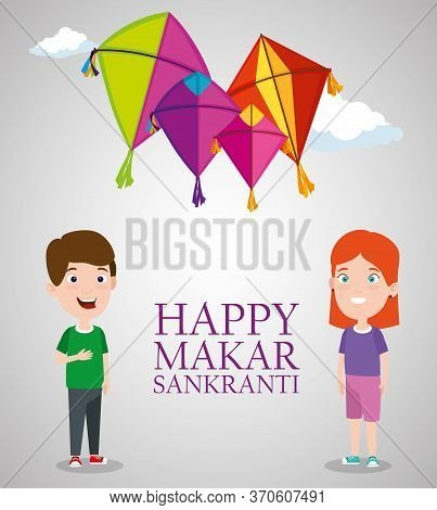 Boy And Girl With Makar Sankranti Event Vector Illustration