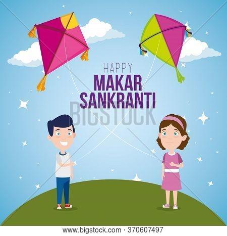 Boy And Girl With Makar Sankranti Festival Vector Illustration