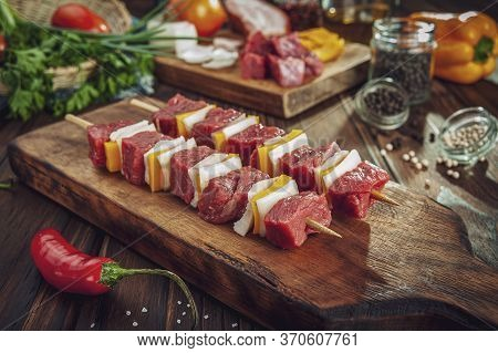 Raw Meat Stick With Ingredients - Brazilian Espetinho De Carne