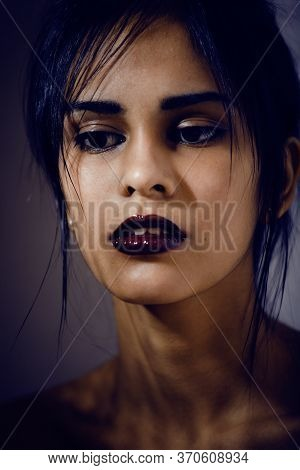 Beauty Latin Young Woman In Depression, Hopelessness Look, Fashion Makeup Modern