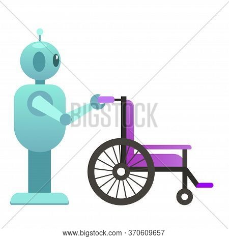 Robo Adviser Health Help, Help Disabled People, Robot With Wheelchair, Smart Robot For Transportatio