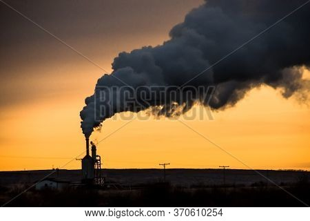 Geothermal Energy Production In Iceland. Sunset With Steam In Vikings Land. Europe. it Is Clean, Ren