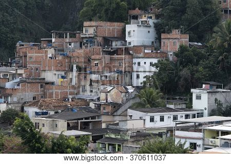 Rio, Brazil - June 06, 2020: View Of Poor Community (favela) In Rio De Janeiro