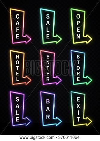 Neon Light Realistic Arrows Signs Set On Transparent Background. Gradient Pointer Signboard Cafe, Sa