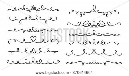 Divider And Curl Line Calligraphic Set. Vintage Borders, Swirl Vignettes Decorative Elements, Orname