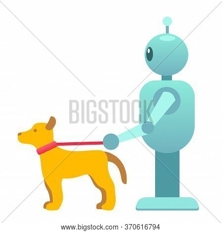 Robot With Lifeguard Dog, Adviser Health Help, Help Disabled People, Robot For Dog Walking, Service